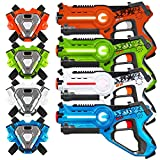 Best Choice Products Set of 4 Interactive Laser Tag Infrared Blaster Toy Guns for Kids & Adults w/ Vests, Multiplayer Mode - Multicolor