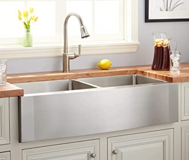 Signature Hardware  Double Basin Stainless Steel Farmhouse Sink With Wave Apron Amazon Com