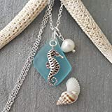 "Handmade in Hawaii, turquoise bay blue sea glass necklace,""December Birthstone"", freshwater pearl, seahorse charm, (Hawaii Gift Wrapped, Customizable Gift Message)"