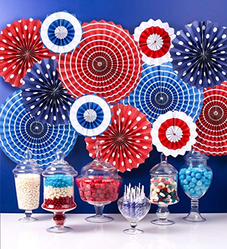 Moon Boat Fourth of July Patriotic Decorations - Red White Blue Hanging Paper Fans - 4th of July Party Favors