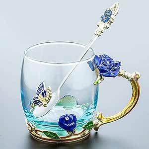 Taza De Té De Cristal De Flores Con Cuchararegalo De Boda