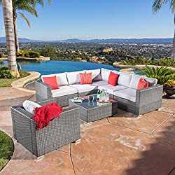 Francisco Outdoor 7-piece Grey Wicker Seating Sectional Set with Cushions
