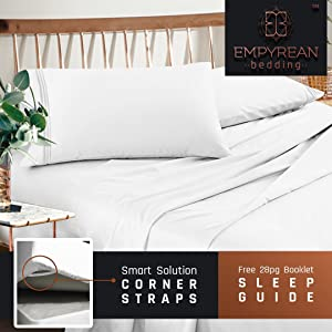 Premium California King Size Sheets Set - White Hotel Luxury 4-Piece Bed Set, Extra Deep Pocket Special Super Fit Fitted Sheet, Best Quality Microfiber Linen Soft & Durable Design + Better Sleep Guide