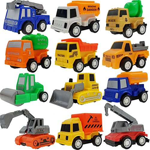 pull back vehicles12 pack assorted construction vehicles toy sackorange die cast vehicles truck mini car toy for kids toddlers boyspull back and go car