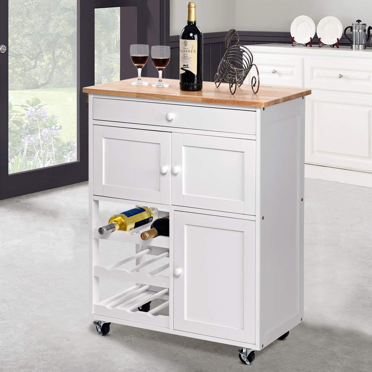 Küchenwagen weiß/Holz von COSTWAY