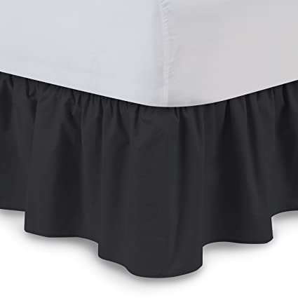 Ruffled Bedskirt Queen Black 18 Inch Bed Skirt With Platform Wrinkle And