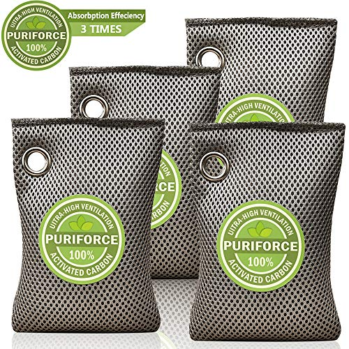 Coconut Charcoal Air Purifying Bag (4 Pack), 3 Times Absorbption Effeciency Odor Absorber, Odor Eliminator, Natural Air Freshener, Activated Charcoal Air Purifier for Home, Car, Closet