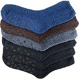 Debra Weitzner 6 Pairs Mens Warm Fuzzy Socks Non-Skid Grip Ultra Soft Solid