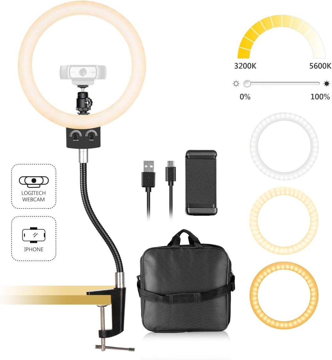 Neewer USB LED Ring Light 8,9 Pouces pour Webcam - Lumière Dimmable avec Pied Flexible et Porte-Smartphone pour Logitech Webcam C920 C922x C930e Brio 4K C925e C922 C930 C615 et Smartphone