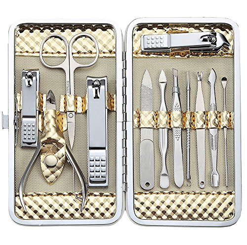 Keiby Citom Professional Stainless Steel Nail Clipper Travel & Grooming Kit Nail Tools Manicure & Pedicure Set of 12pcs with Luxurious Case (Gold)