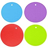 AxeSickle 4 pcs Trivet Mat,Multipurpose Silicone Drying Mat,Silicone Pot Holders, Hot Pads,Silicone Heat Resistant Coasters,Cup Insulation Mat,Insulation Pad Potholders,Insulation Non slip Mat(Round)