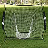 Goplus 7'×7' Baseball & Softball Practice Net Hitting Batting Training Net w/Bow Frame & Carry Bag
