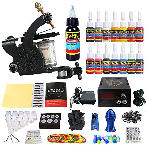 Solong Tattoo Complete Starter Tattoo Kit 1 Pro Machine Guns 14 Inks Power...