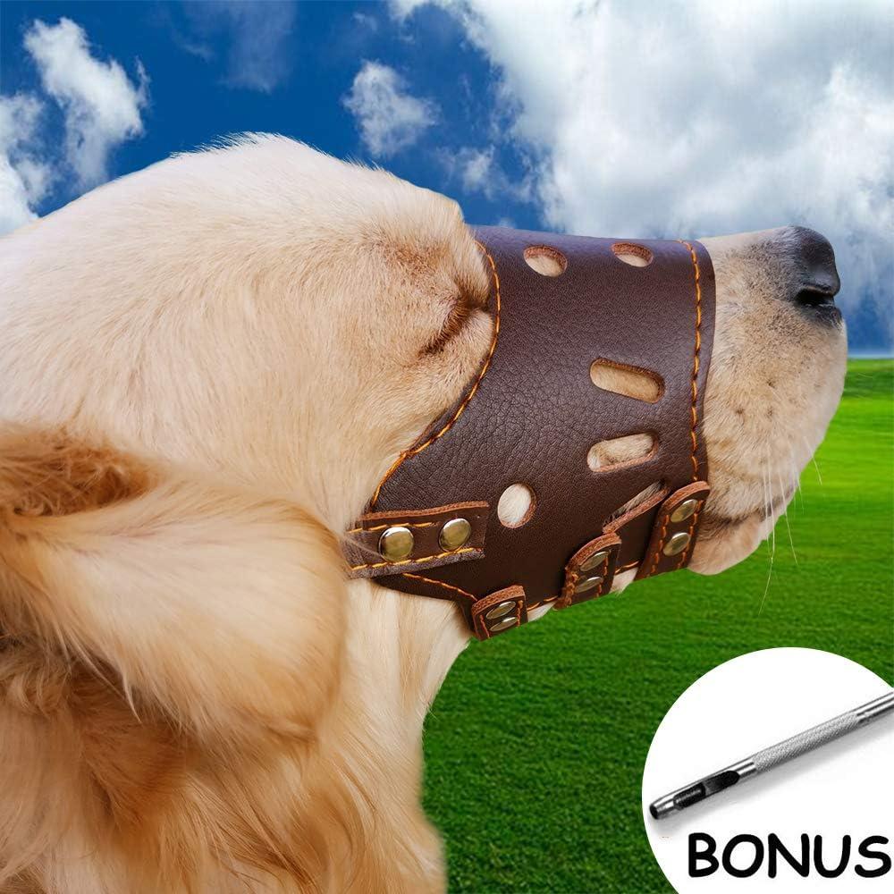 Supet Bozal de Cuero Ajustable para Perros Máscara de bozal para Perros de Seguridad Transpirable para Evitar ladrar y Masticar