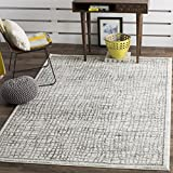 Safavieh Adirondack Collection ADR103B Silver and Ivory Modern Distressed Area Rug (4' x 6')