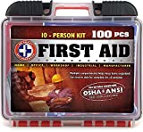 Be Smart Get Prepared 100 Piece First Aid Kit, Exceeds OSHA ANSI Standards for 10 People - Office, Home, Car, School, Emergency, Survival, Camping, Hunting, and Sports