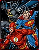 Northwest Justice League Trio Batman, Superman and Flash Fleece Throw Blanket - Soft and Warm