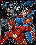 "Justice League ""Trio"" Batman, Superman and Flash Fleece Throw Blanket - Soft and Warm"