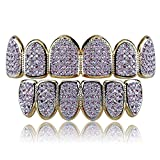 JINAO 18k Gold Plated All Iced Out Pink Rhinestone Gold Grillz Set for Women with Extra Molding Bars