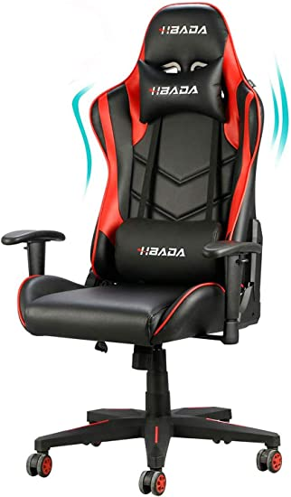 Amazon Com Hbada Gaming Chair Racing Style Ergonomic High Back Computer Chair With Height Adjustment Headrest And Lumbar Support E Sports Swivel Chair Red 1 Year Warranty Furniture Decor