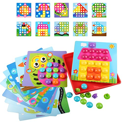 Girl Toys Color : Amosting button art color matching mosaic pegboard early