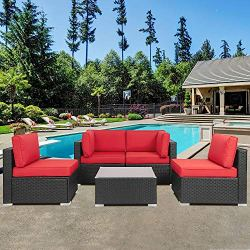 Shintenchi Wicker Rattan Outdoor Patio All Weather Furniture w/Removable Cushions – 5 Pieces Set: Sofa Set & Tea Table…
