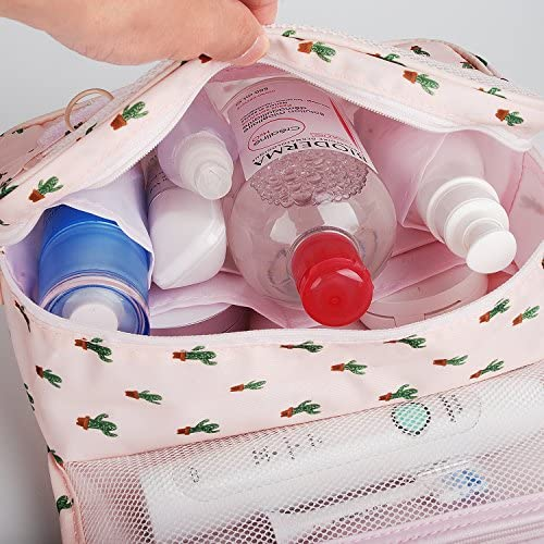 Hanging Travel Toiletry Bag Cosmetic Make up Organizer for Women and Girls Waterproof (Cactus) 4