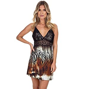 Camisola Curta Animal Print com Renda