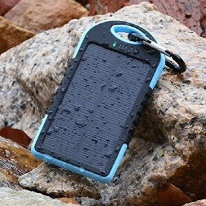 EXCOUP – 12000mah Portable Waterproof Solar Power Bank Battery Dual USB Port Charger for iPhone,iPad,Cell Phone,Tablet,Camera,Dust-Proof and Shock-Resistant (Camouflage)