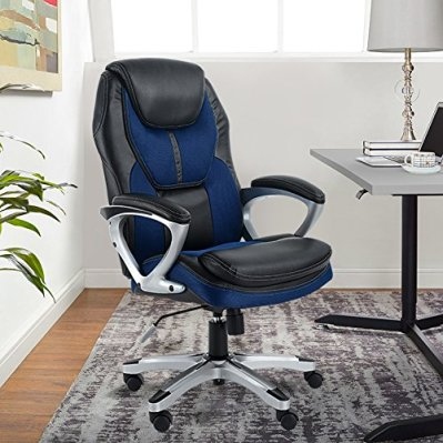 Serta Works Executive Office Chair, Faux Leather and Mesh, Black/Blue