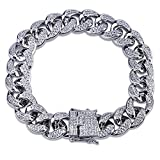 SHINY.U 14mm 14K Gold Plated Hip Hop Iced Out CZ Lab Diamond Miami Cuban Link Chain Bracelet for Men and Women(White Gold,7)