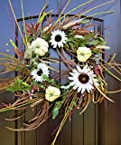 Fall Door Wreath with Cream Pumpkins and White Sunflowers