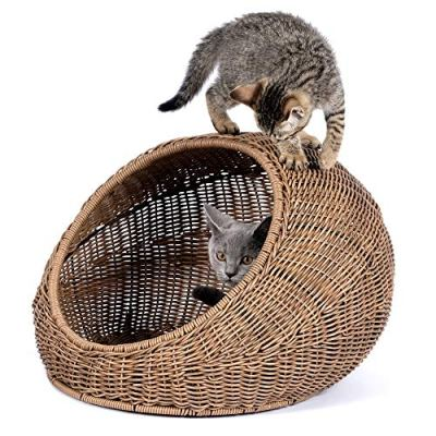 D+GARDEN Wicker Cat Bed for Indoor Cats – a Covered Modern...