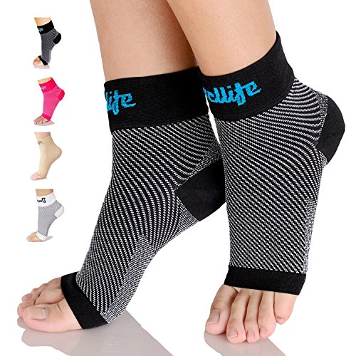 Dowellife Plantar Fasciitis Socks, Ankle Brace Compression Support Sleeves & Arch Support, Foot Compression Sleeves, Ease Swelling, Achilles Tendonitis, Heel Spurs for Men & Women (Black, S)