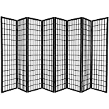 Oriental Furniture 6 ft. Tall Window Pane Shoji Screen - Black - 8 Panels