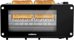 Toaster 2 Slice, CUSIMAX Long Slot Toaster with Glass Window Bagel Toasters