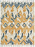 Stone & Beam Modern Global Ikat Wool Area Rug, 5' x 8', Blue