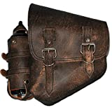 La Rosa Harley-Davidson Softail Chopper Rustic Brown Leather Left Swing Arm Saddlebag with Extra Fuel Gas Bottle