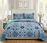 Linen Plus Twin/Twin Extra Long Size 2pc Quilted Bedspread Floral Turquoise Grey White Navy Blue New