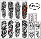 DaLin Extra Large Full Arm Temporary Tattoos and Half Arm Tattoo Sleeves for Men Women, 14 Sheets (Collection 7)