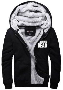 XCOSER Unisex Angel Wings Hoodie Thicken Fleece Jacket Cosplay Outwear Black S