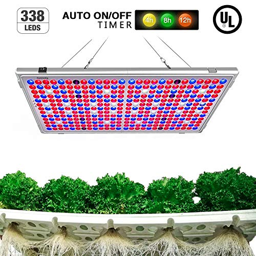 Relassy 300W LED Grow Light Panel, Auto On/Off Timer Function, 338 LEDs Reflector 16-Band Full Spectrum Plant Light for Indoor Plants Seeding Veg and Flower Commercial Planting