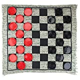 Brybelly Giant 3-in-1 Checkers and Mega Tic Tac Toe with Reversible Rug - Indoor/Outdoor Jumbo Board Games for Family Fun & Parties
