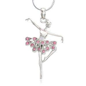 Soulbreezecollection Light Pink Dancing Ballerina Dancer Ballet Dance Pendant Necklace Charm (Pink)