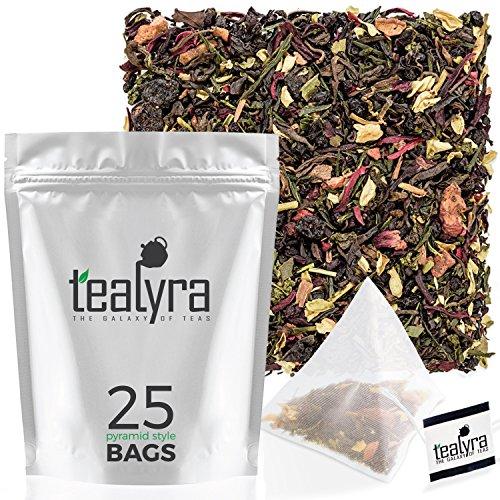 Tealyra - Fat Burner - 25 Bags - Wellness Detox Weight Loss Tea Blend - Pu Erh Aged - Sencha Green Tea - Wu-Yi Oolong - Diet Refreshing - Natural - Loose Leaf - Pyramids Style Sachets