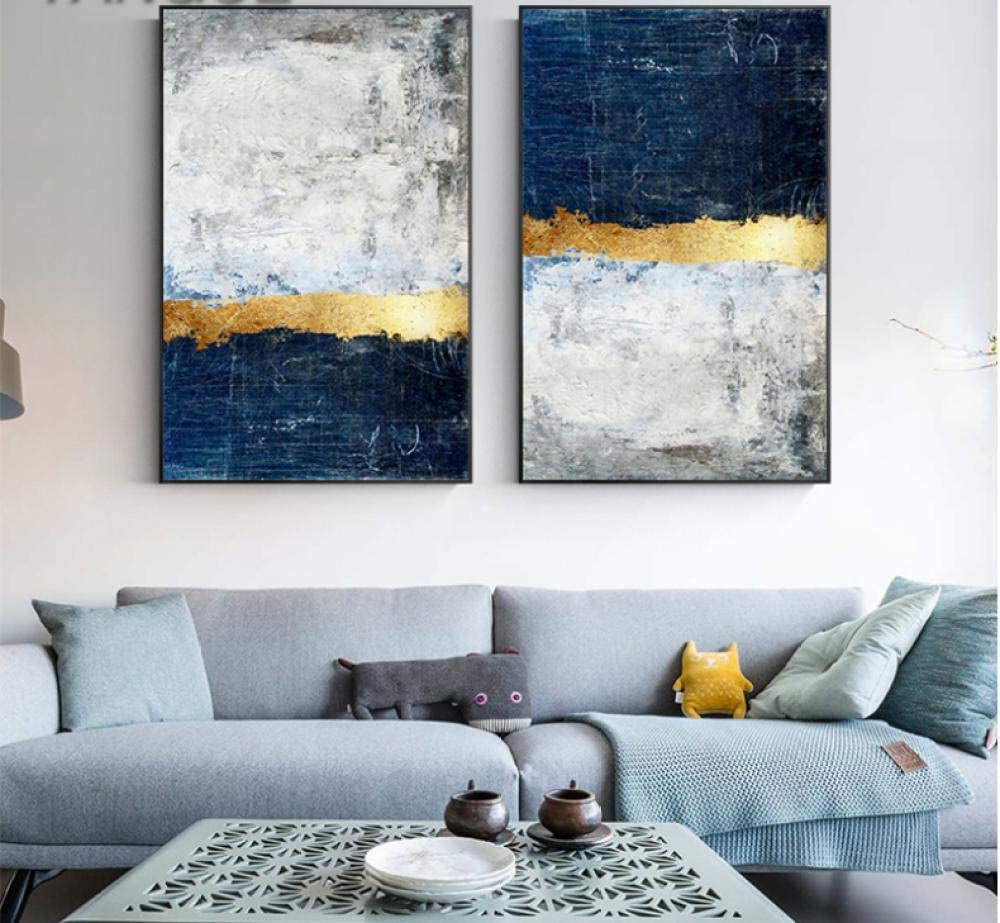 Abstract Gold Foil Block Painting Blue Poster Print Modern Golden Wall Art Picture For Living Room Navy Decor 50x75cmx2 No Frame Amazon Co Uk Welcome