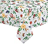 English Berry Garden Heavy 4 Gauge Vinyl Flannel Backed Tablecloth, Strawberry Garden Floral Indoor/Outdoor Wipe Clean Picnic, Kitchen, Dining Room Tablecloth - 52' x 52' Square