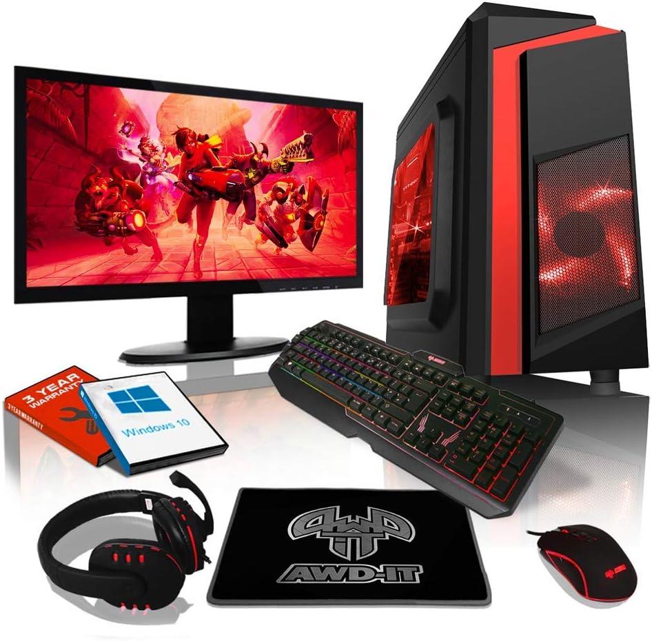 """Ensemble Gaming PC AWD-IT - Processeur 4 cœurs AMD A10 9700 • Écran LED 24""""• Clavier et Souris Gamer • 16 Go • 1 to • Étui PC à LED • WiFi • Windows 10"""