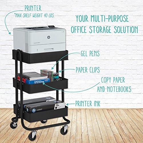 ECR4Kids 3-Tier Metal Rolling Utility Cart – Heavy Duty Mobile Storage Organizer, Black deal 50% off 61c2dEEE7cL