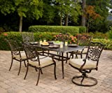 Hanover TRADITIONS7PCSW Traditions 7-Piece Deep-Cushioned Dining Set Outdoor Furniture, Bronze Frame, Tan